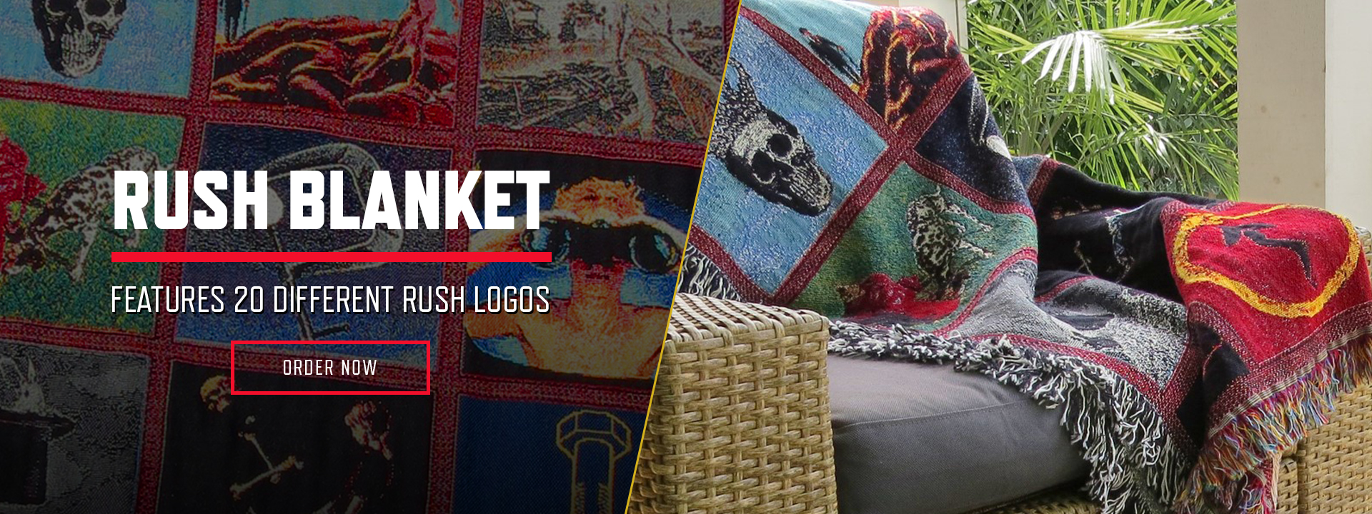 Rush Blanket. Features 20 Different Rush Logos