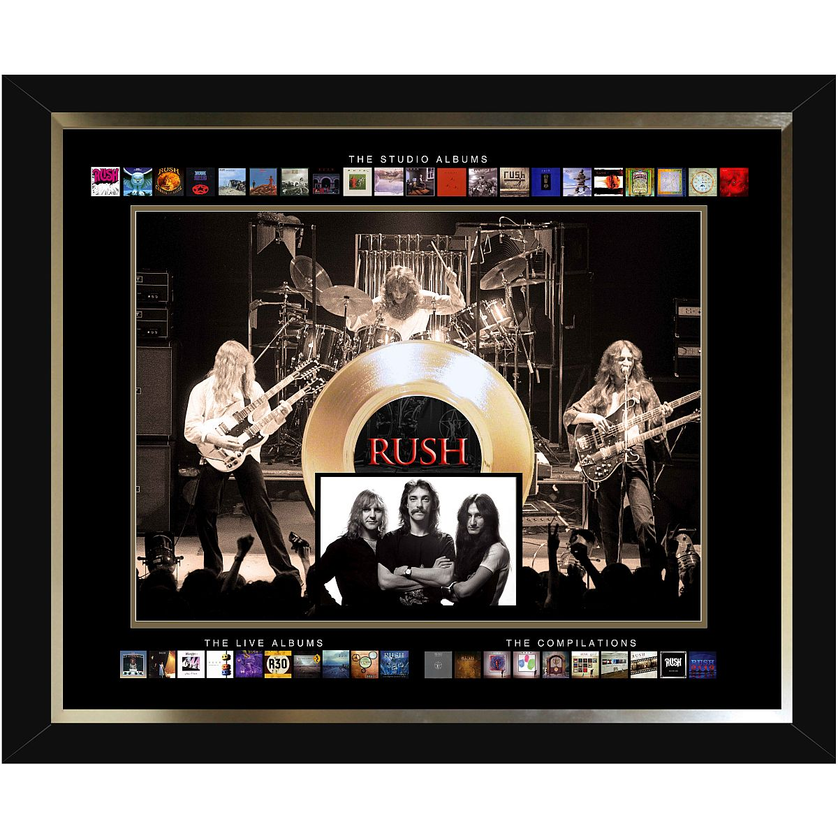 Rush Framed Album Collection Collage with Gold 45 Record