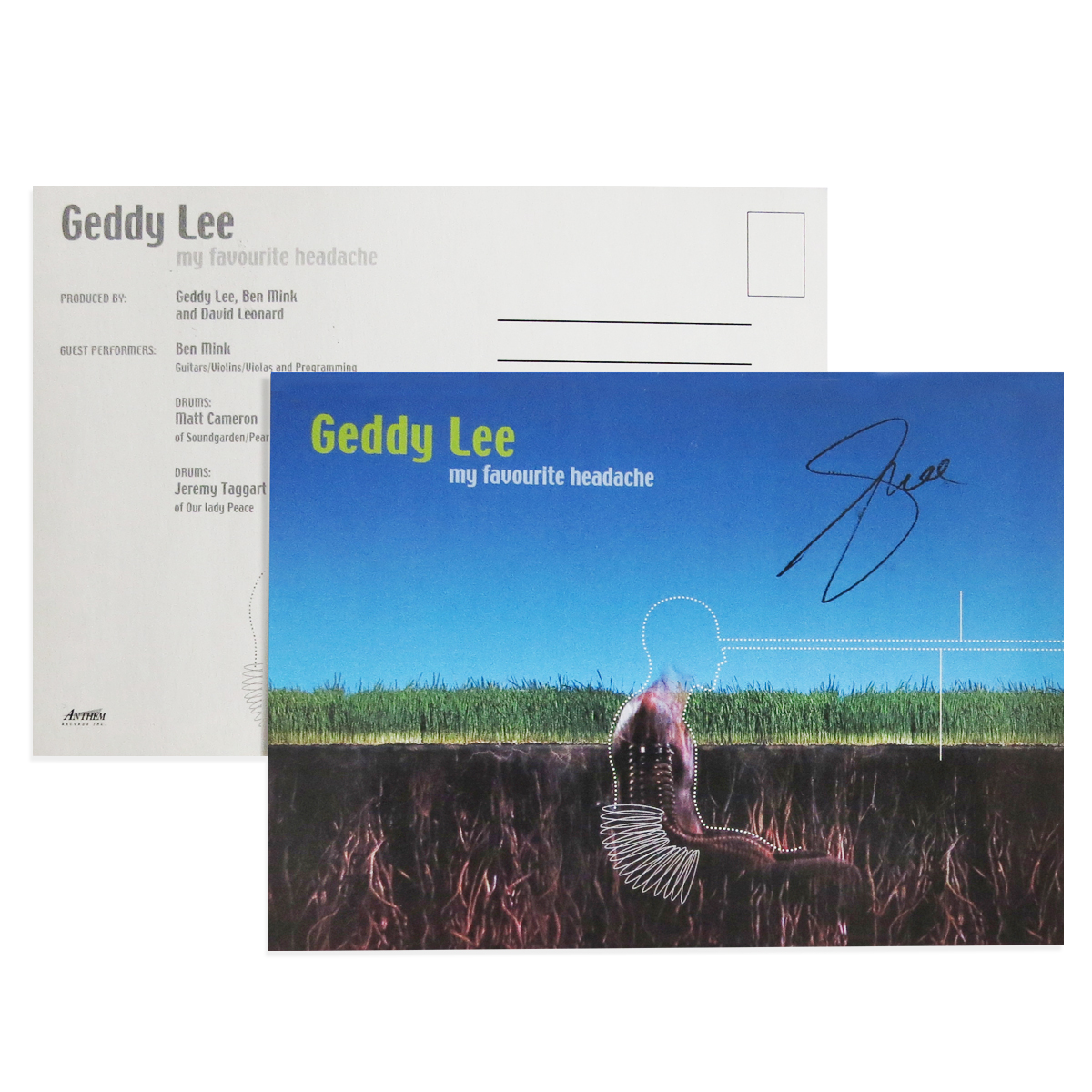 Geddy Lee - My Favourite Headache 2LP Vinyl + Geddy Lee Favorite Blue Tee + Promo CD from the Archives + Autographed MFH Postcard