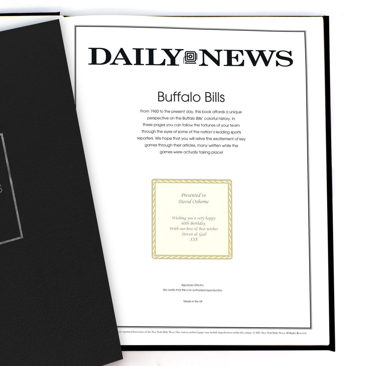 """History of the Buffalo Bills"" Newspaper Book"