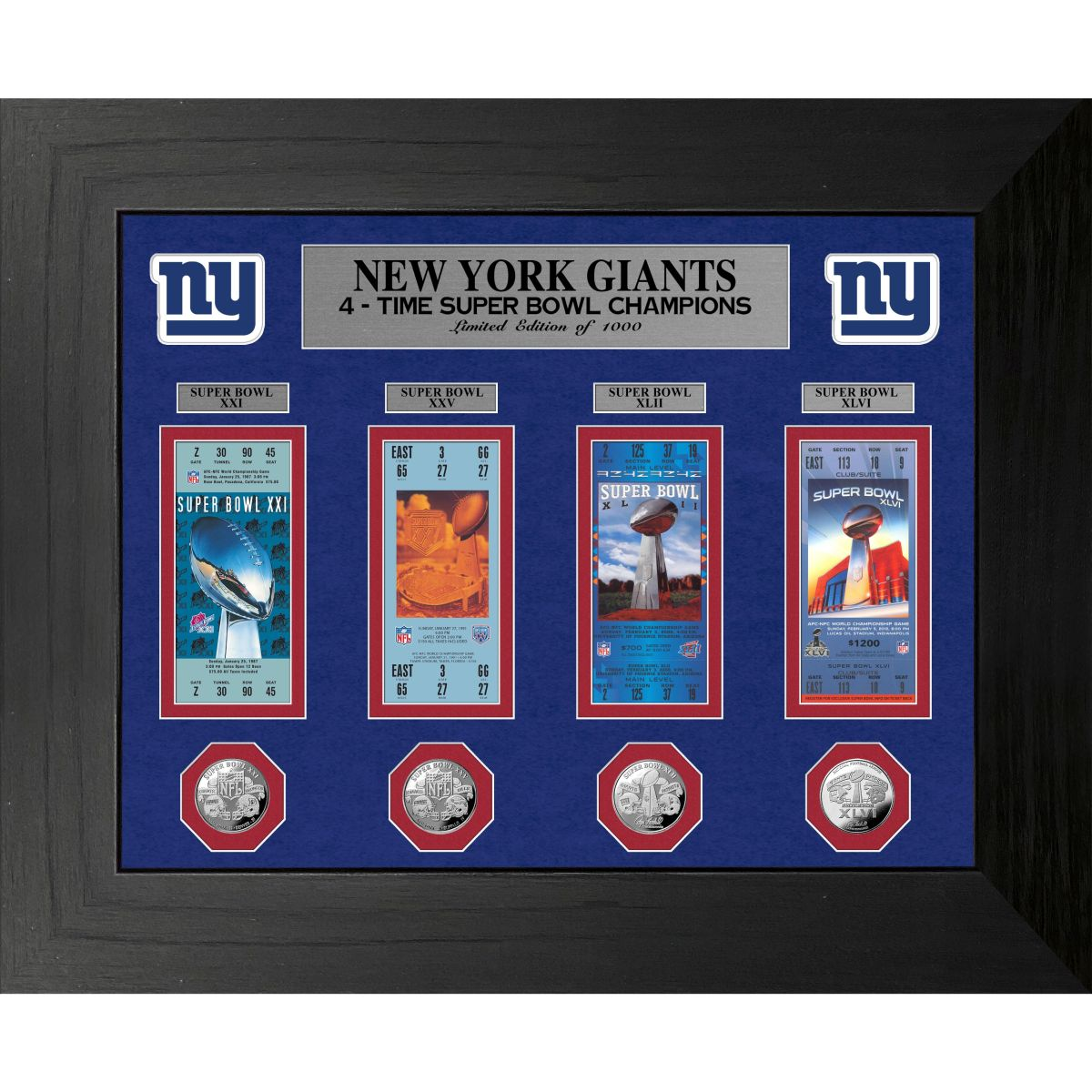 New York Giants Super Bowl Champions Deluxe Silver Coin & Ticket Collection