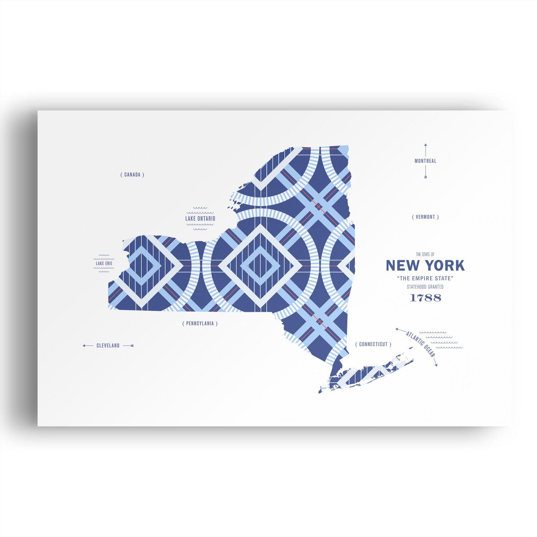 New York Map Print Poster