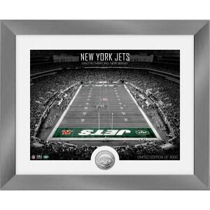 New York Jets Art Deco Stadium Silver Coin Photo Mint