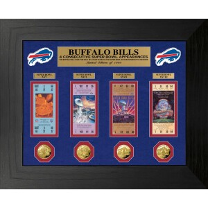 Buffalo Bills 4 Consecutive Super Bowl Appearances Deluxe Gold Coin & Ticket Collection