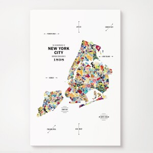 New York City Map Print Poster