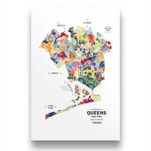 Queens Map Print Poster