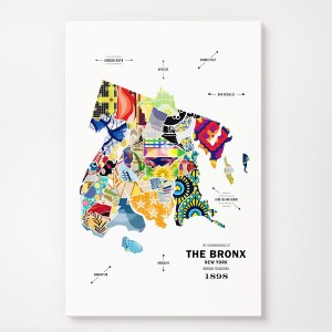 The Bronx Map Print Poster