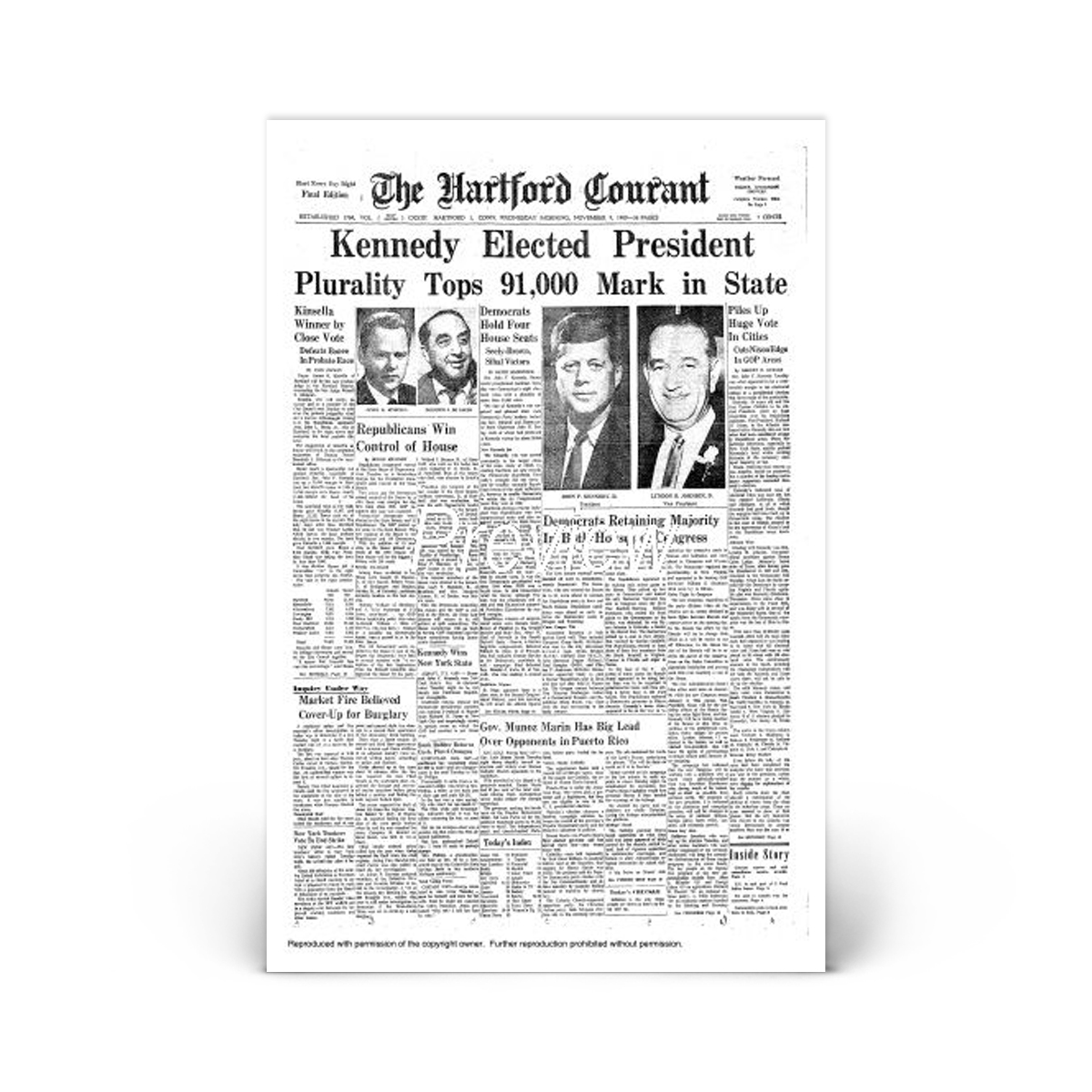 Commemorative Front Page: JFK Elected President
