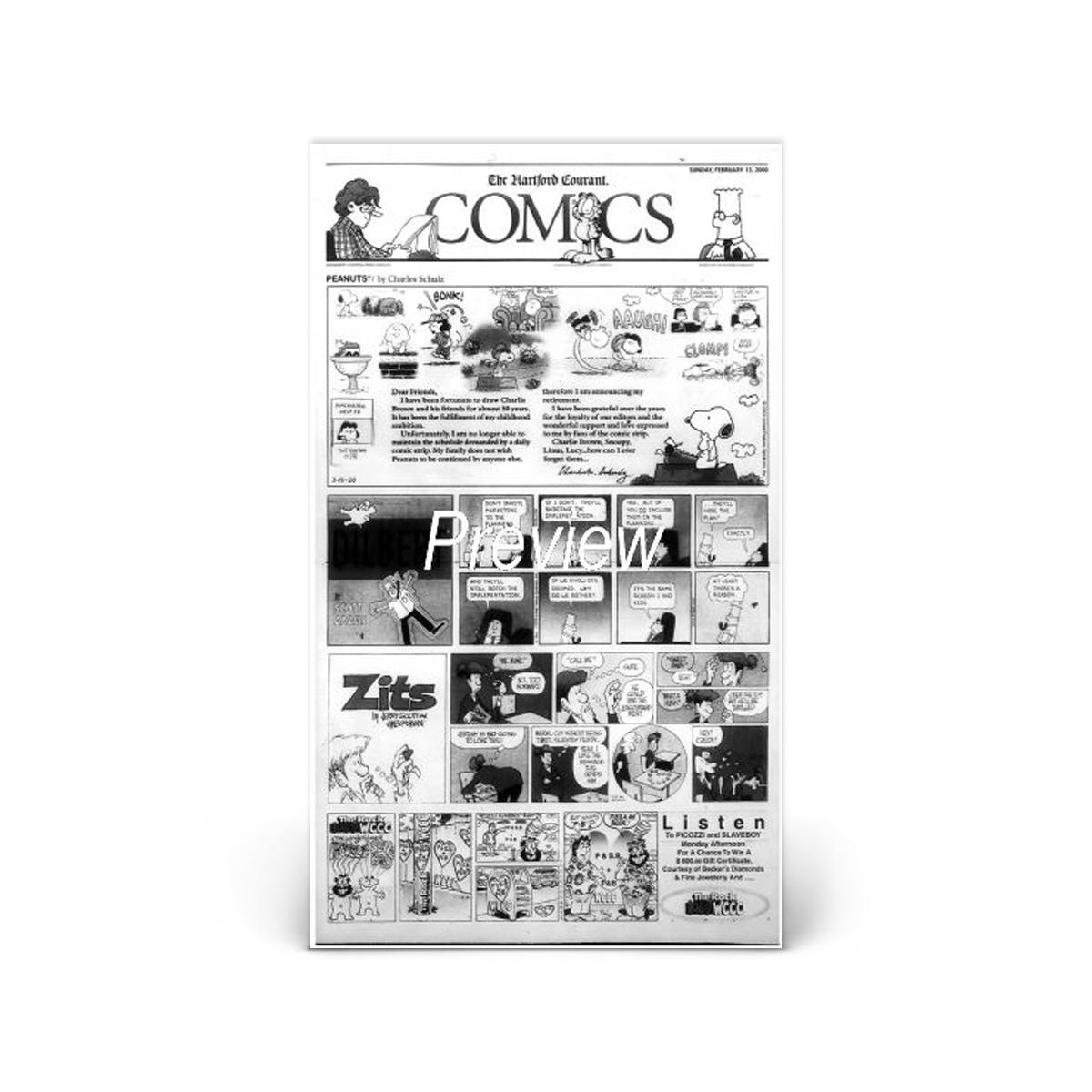Commemorative Front Page: Last Peanuts Comic