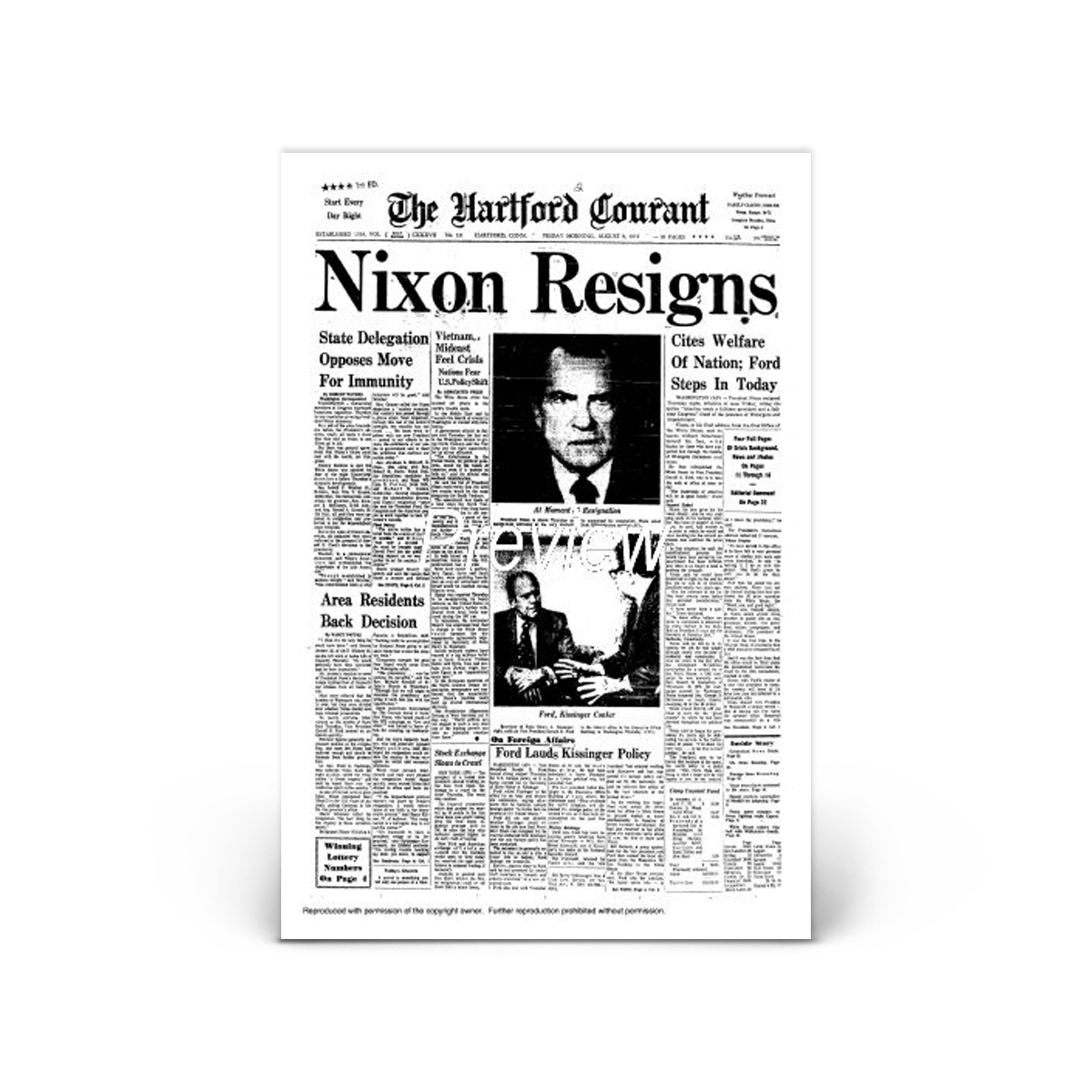 Commemorative Front Page: Nixon Resigns