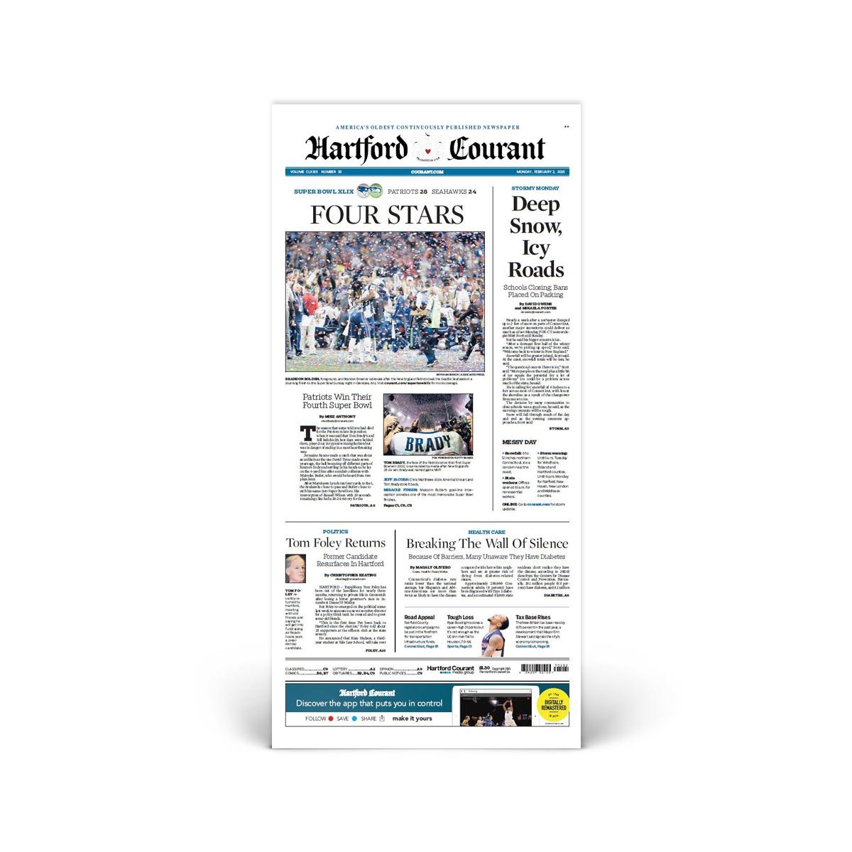 Commemorative Front Page: Patriots Super Bowl XLIX Win
