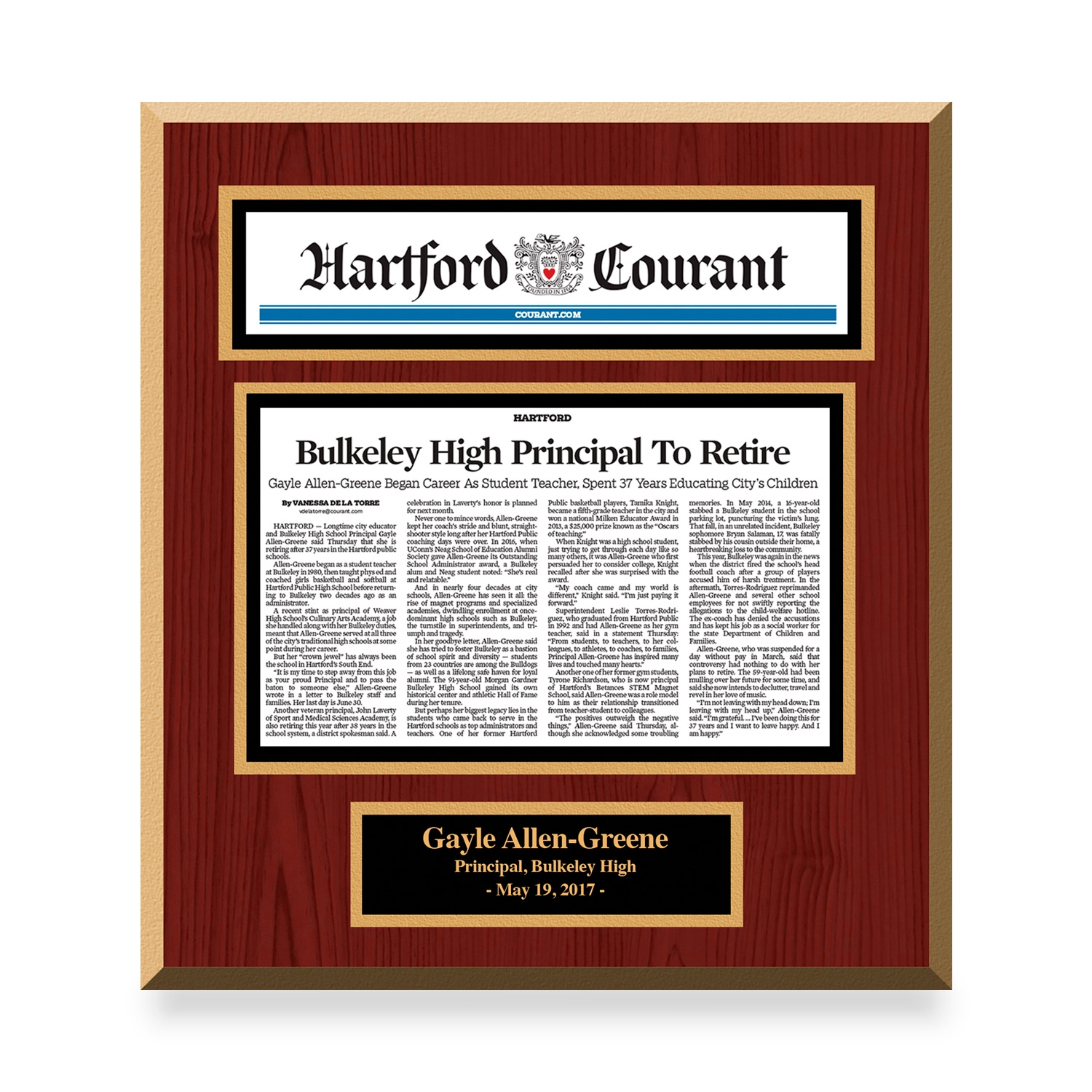 Hartford Courant Custom Article Print Plaques