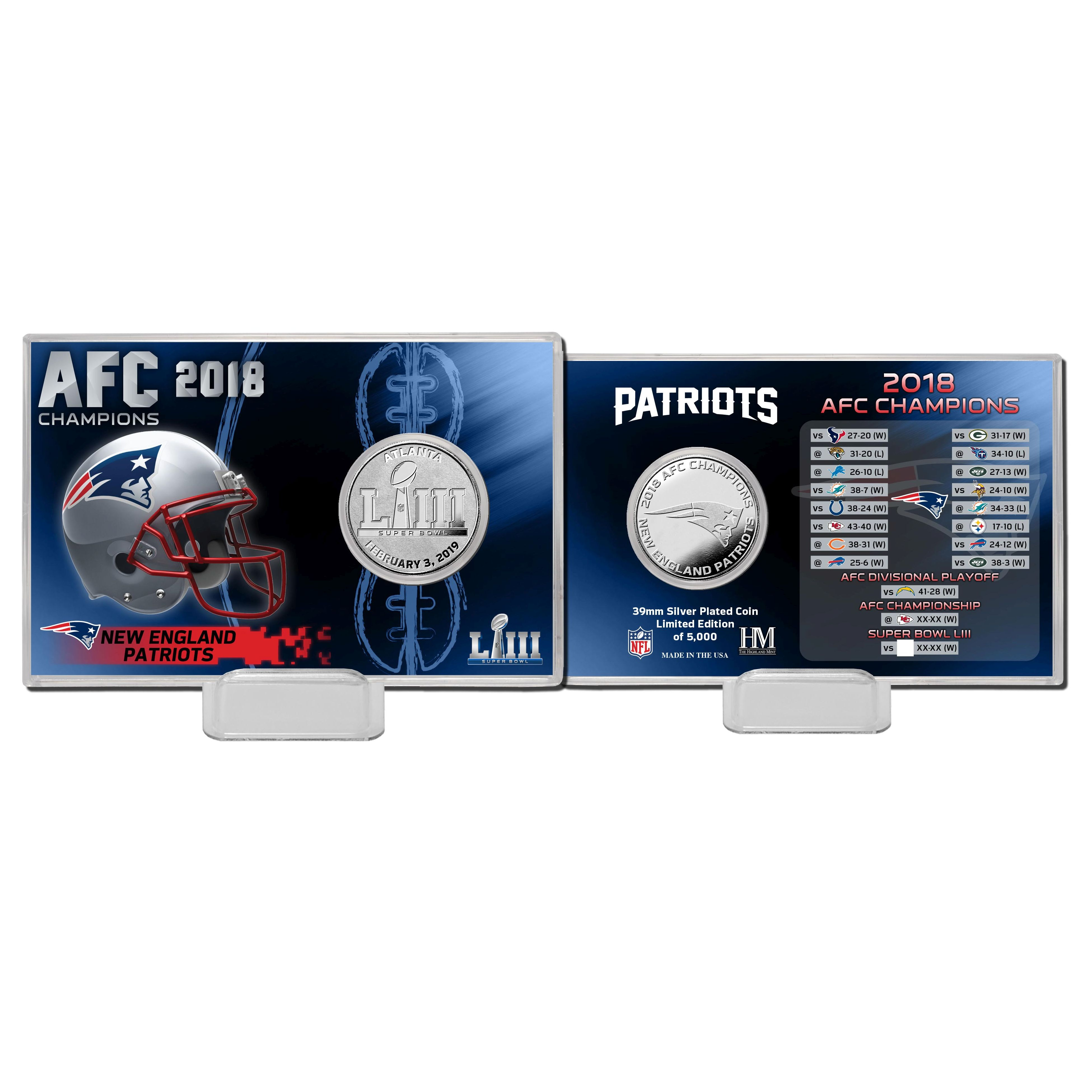 New England Patriots 2018 AFC Champions Silver Coin Card