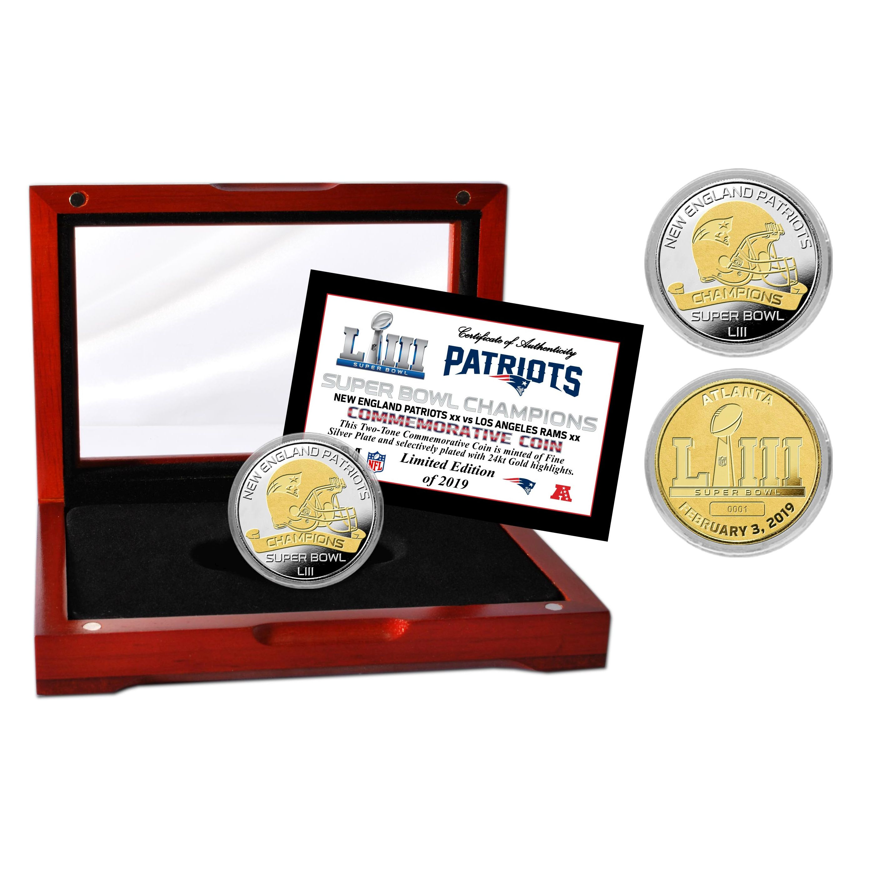 New England Patriots Super Bowl 53 Champions Two-Tone Mint Coin