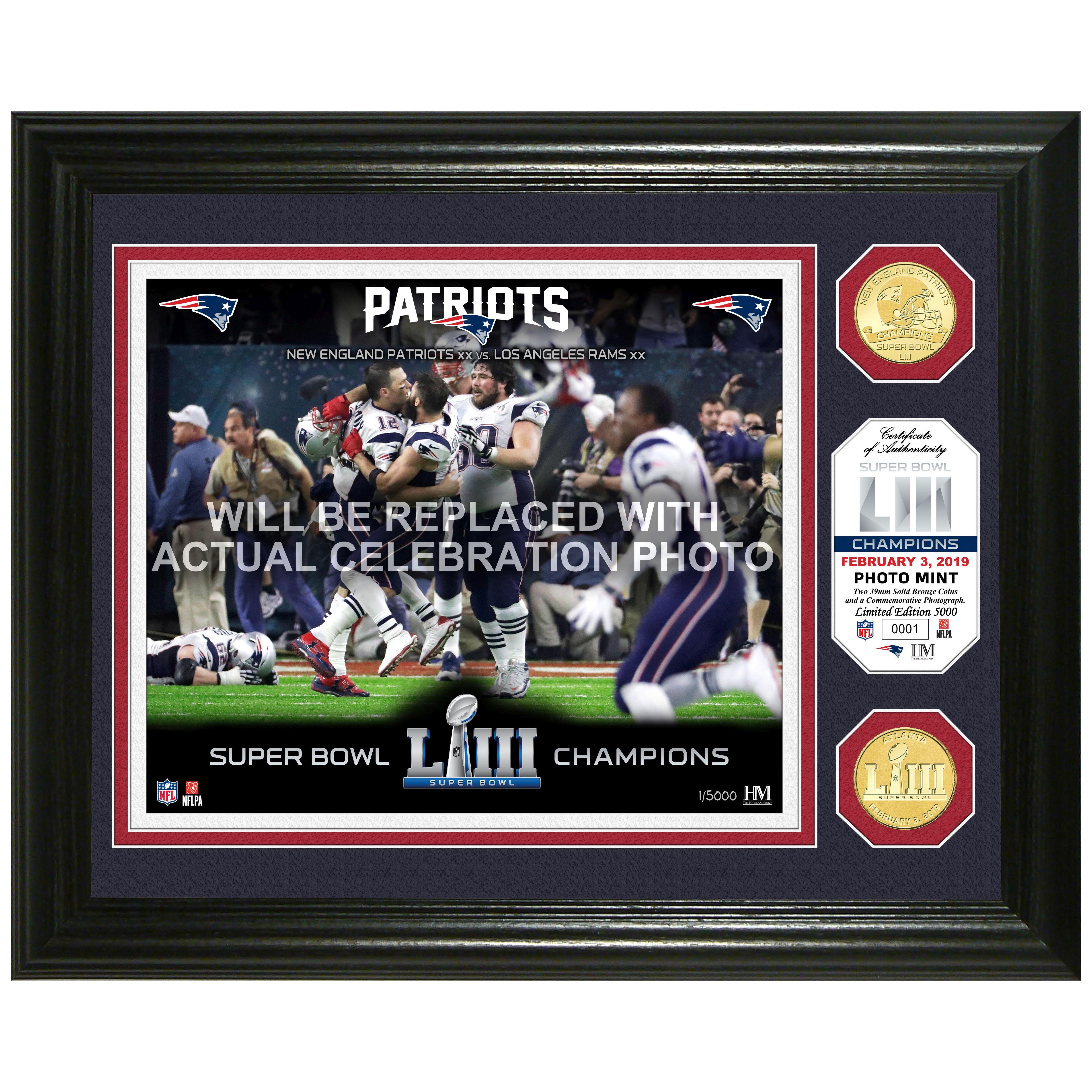 New England Patriots Super Bowl 53 Champions Celebration Bronze Coin Photo Mint