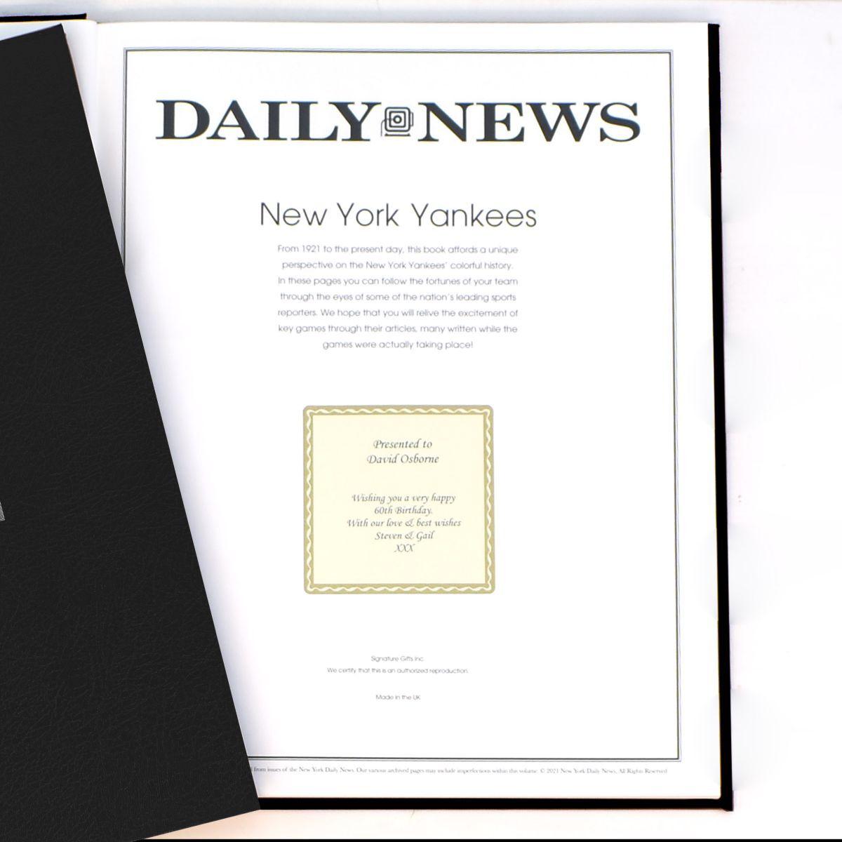 """History of the New York Yankees"" Newspaper Book"