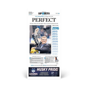 2016 UConn Women's Basketball Championship Hartford Courant Sports Section Reprint