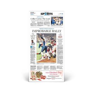 Commemorative Front Page: Patriots Super Bowl LI Victory Sports Section