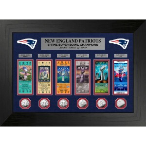 New England Patriots 6-Time Super Bowl Champions Deluxe Silver Coin & Ticket Collection