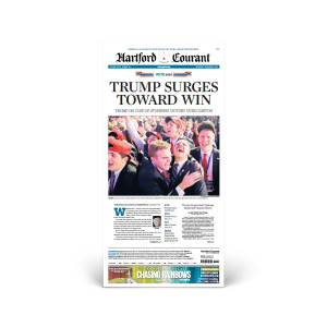 """Hartford Courant 11/9/2016 """"Trump Surges Toward Win"""" Front Page Poster"""
