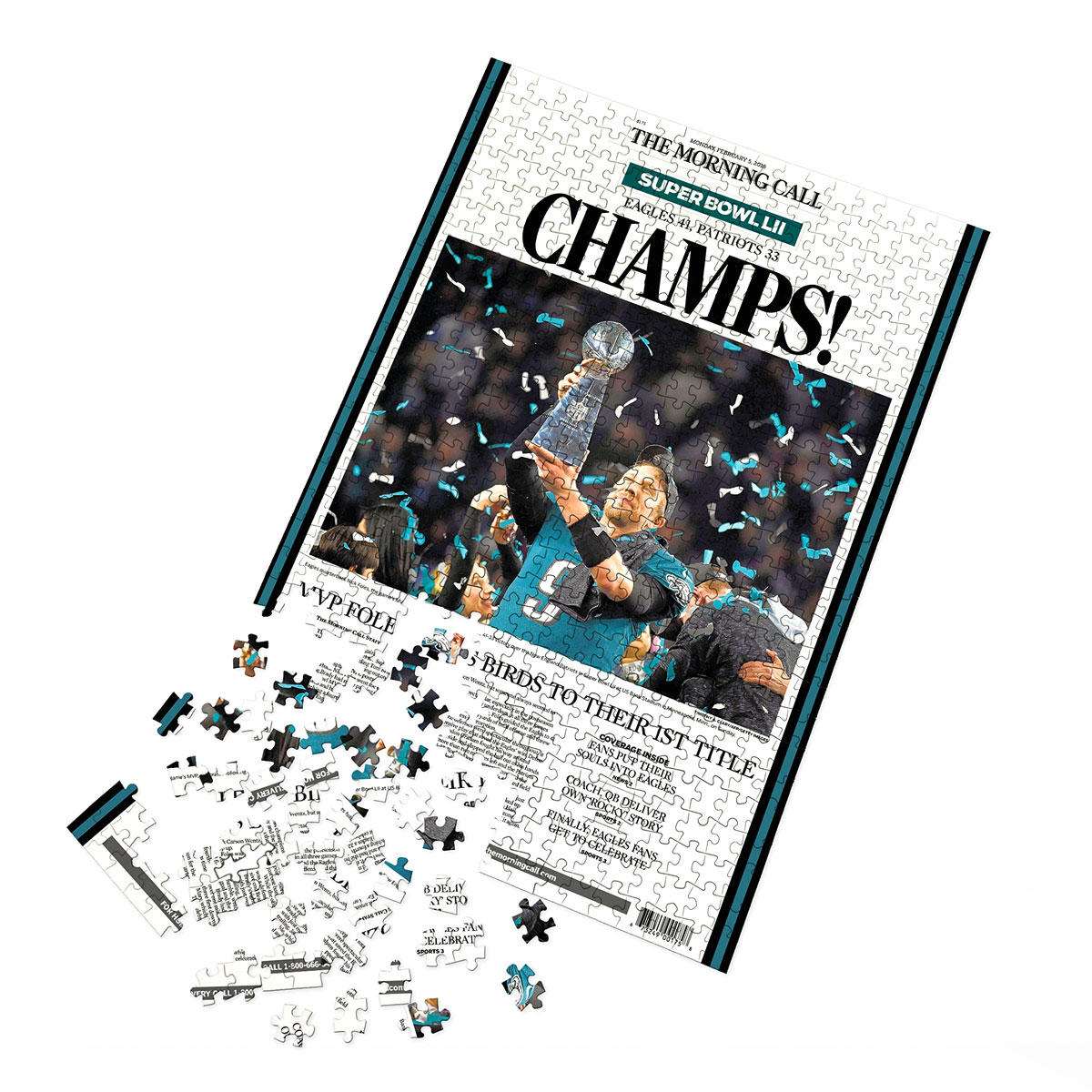 Philadelphia Eagles Super Bowl LII Champions Front Page Puzzle