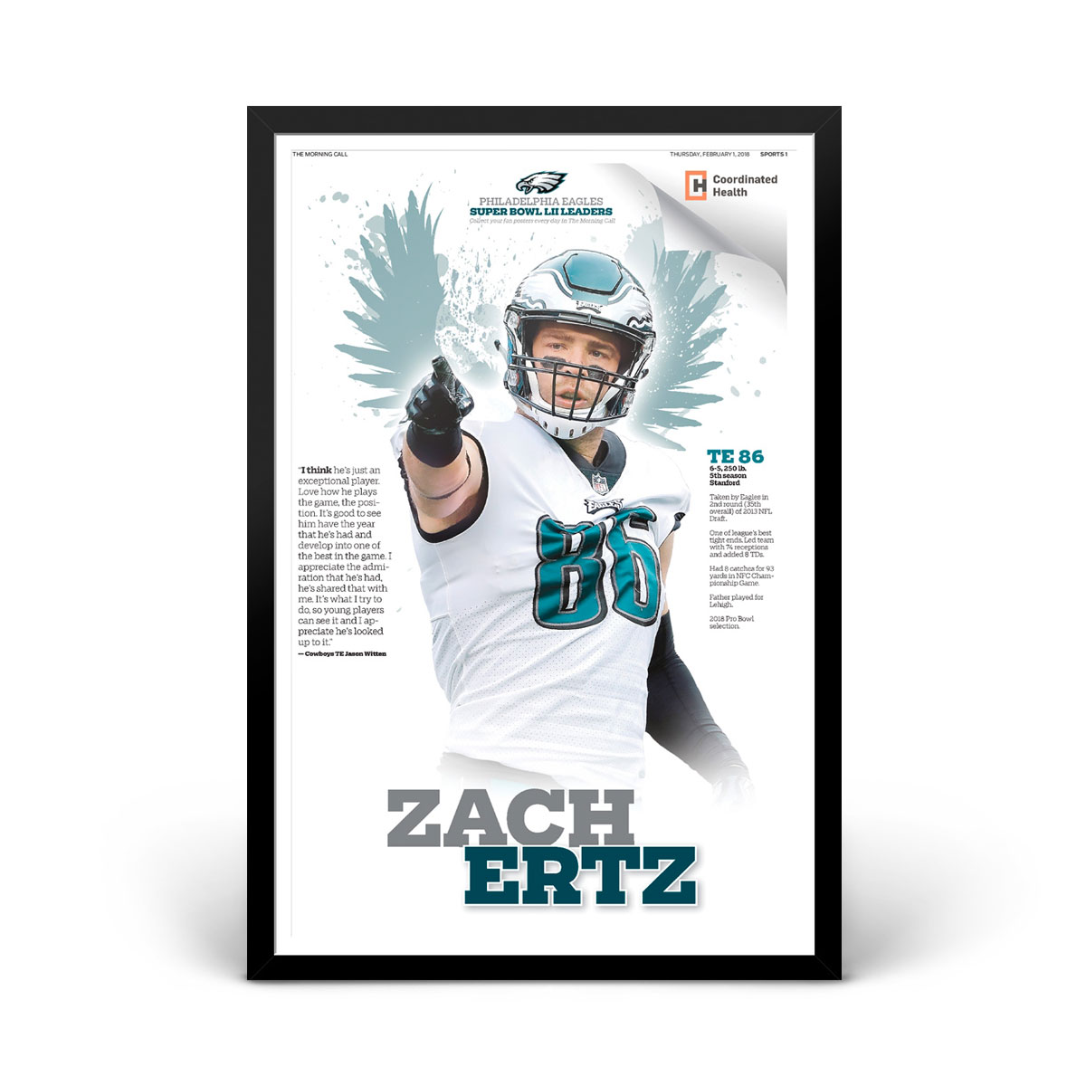 Zach Ertz Philadelphia Eagles Player Print 1/31/2018