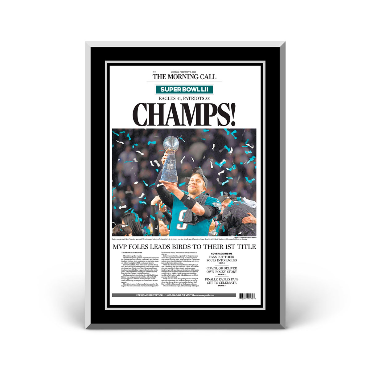 Philadelphia Eagles Super Bowl LII Champions Front Page Plaque