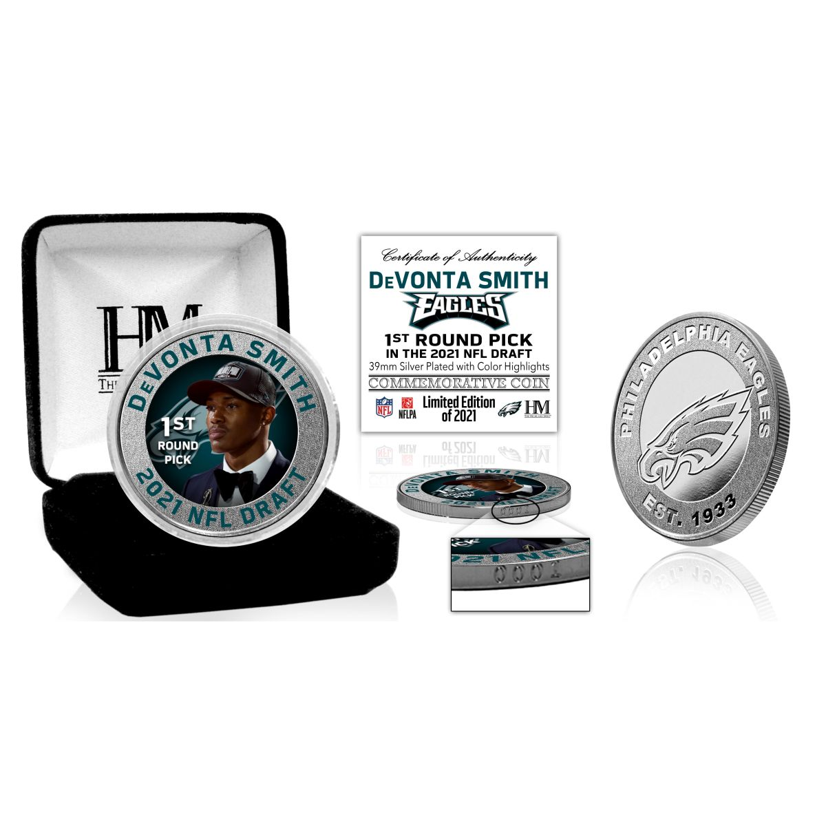 DeVonta Smith 2021 NFL Draft Silver Mint Coin