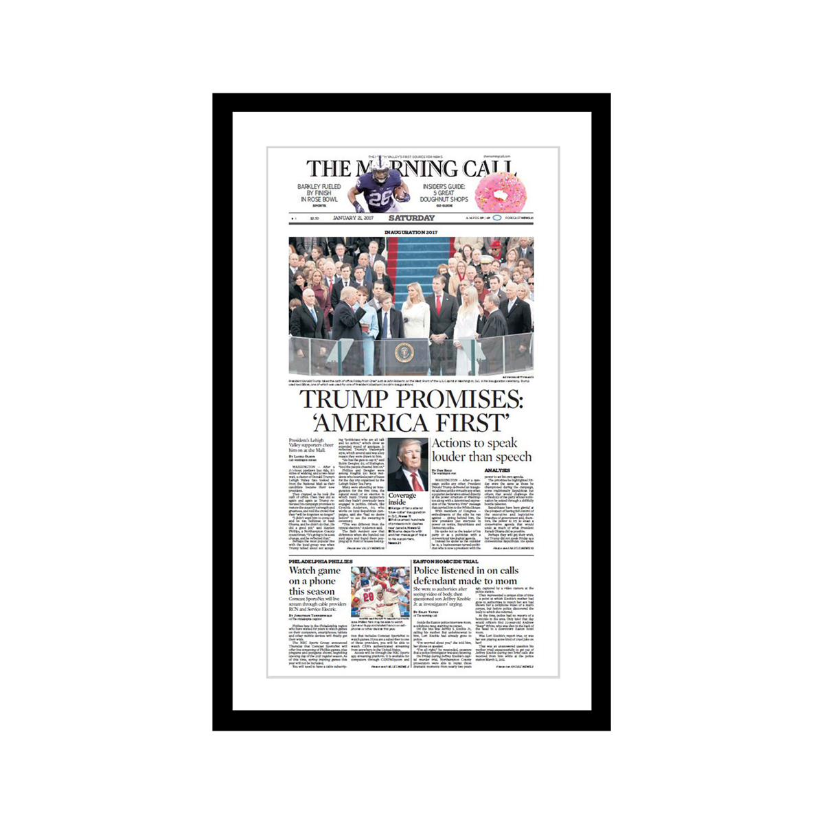 "Morning Call 1/21/2017 ""Trump Promises: 'America First'"" Front Page Poster"