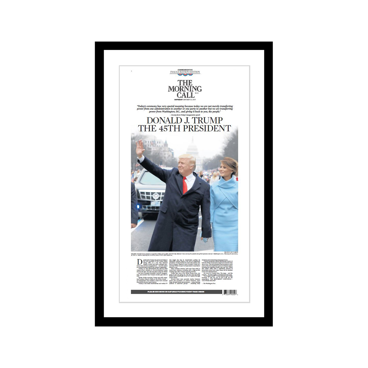 """Morning Call 1/21/2017 """"Donald J. Trump, The 45th President"""" Commemorative Inauguration Edition Poster"""