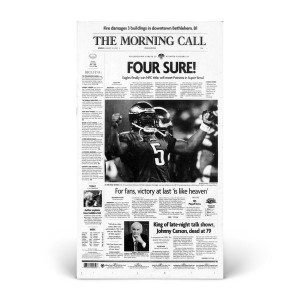 Commemorative Front Page: Eagles Win NFC Title