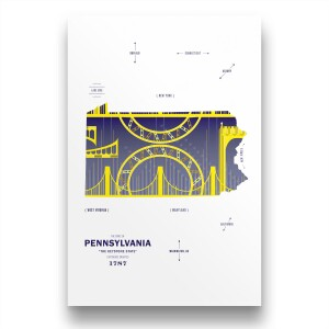 Pennsylvannia Map Print Poster