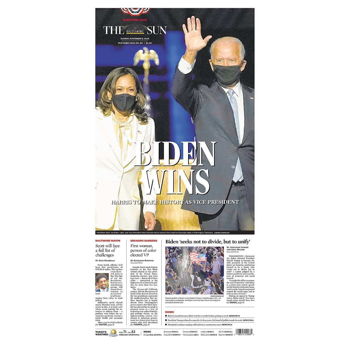 """Biden Wins"" 11/8/2020 Back Issue"