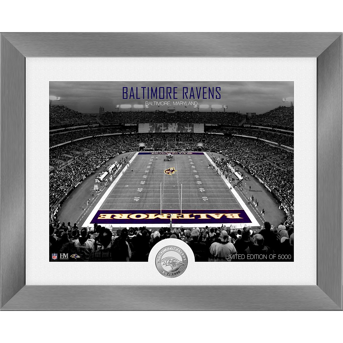 Baltimore Ravens Art Deco Stadium Silver Coin Photo Mint