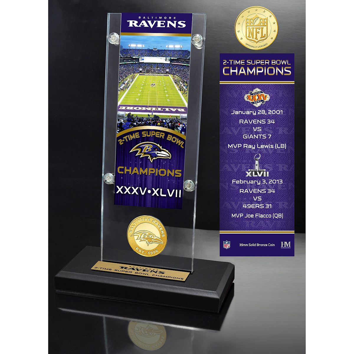 Baltimore Ravens 2x Champions Ticket & Bronze Coin Acrylic Desk Top