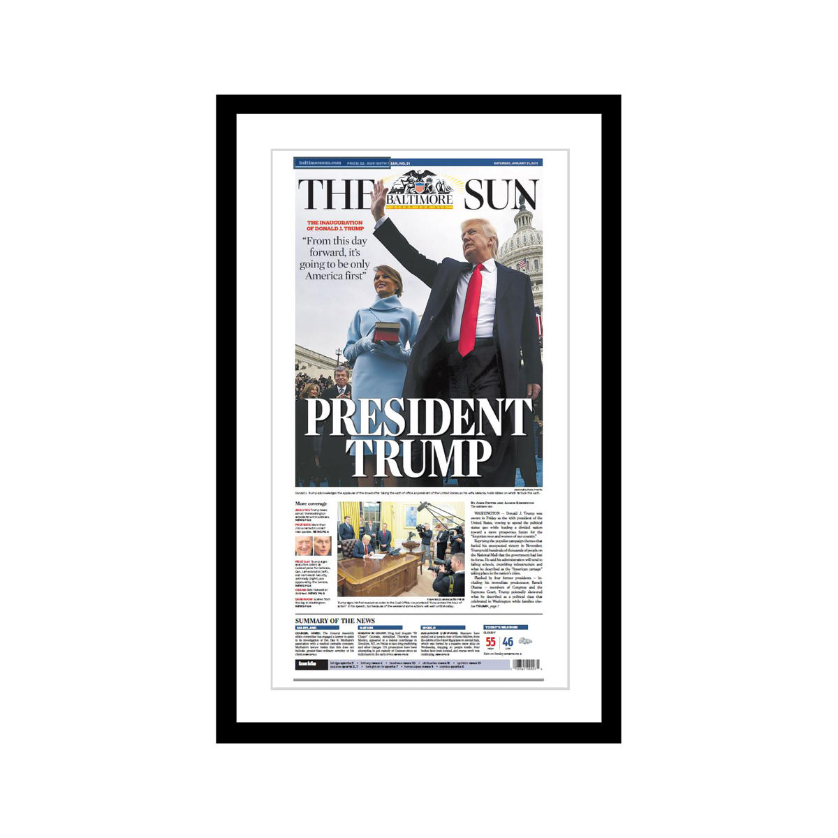 "Baltimore Sun 1/21/2017 ""President Trump"" Front Page Poster"