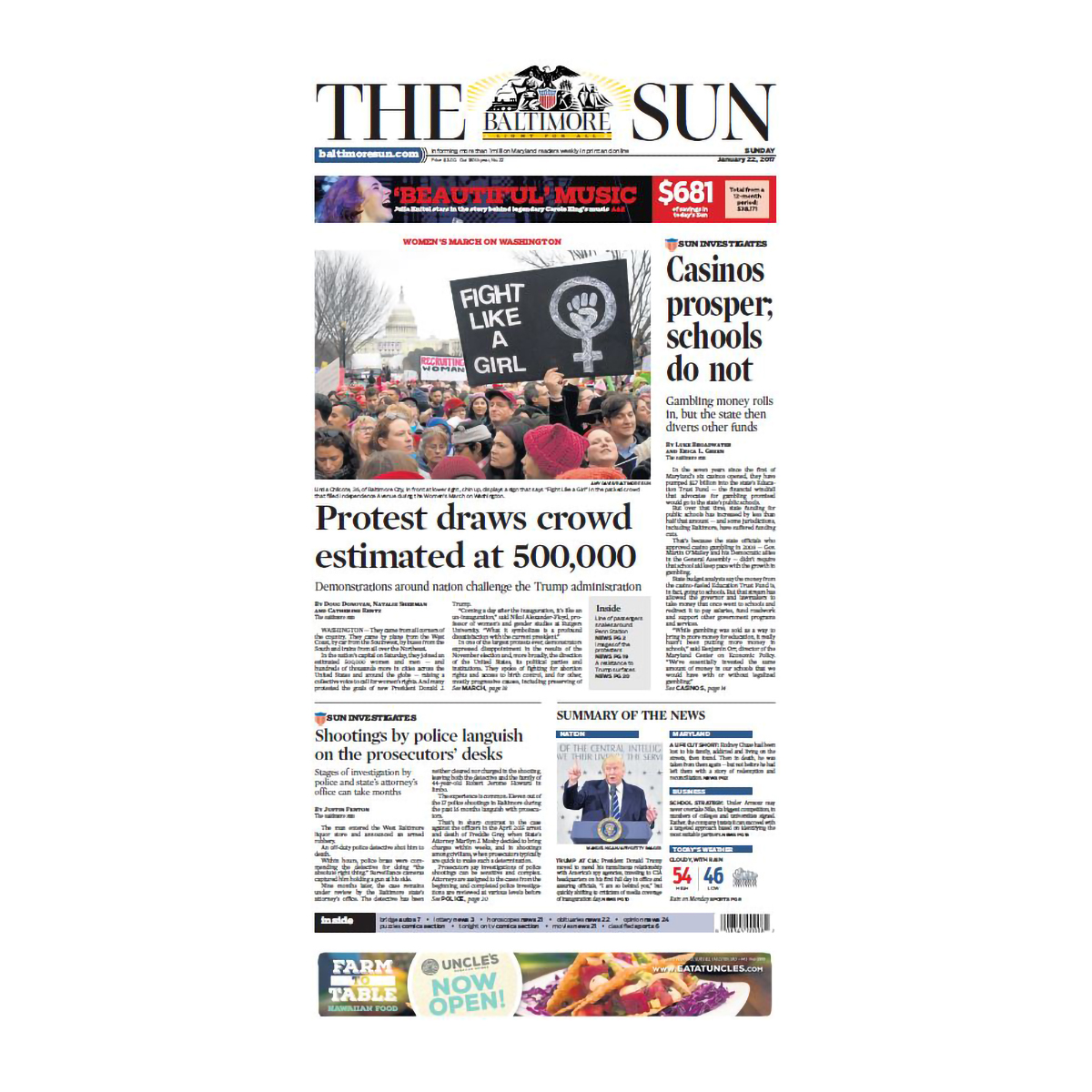 "Baltimore Sun 1/22/2017 ""'Protest Draws Crowd estimated at 500,000"" Women's March Front Page Poster"