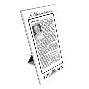 Baltimore Sun Keepsake Obituary Plaque