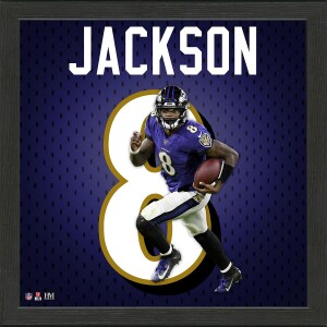 Lamar Jackson Impact Jersey Framed Photo