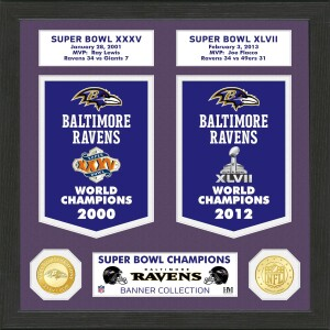 Baltimore Ravens Super Bowl Banner Collection Bronze Coin Photo Mint