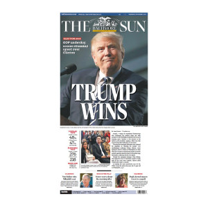 "Baltimore Sun 11/9/2016 ""Trump Wins"" Front Page Poster"