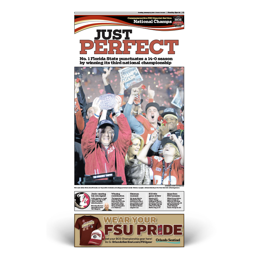 "Commemorative Front Page: FSU Football ""Just Perfect"""