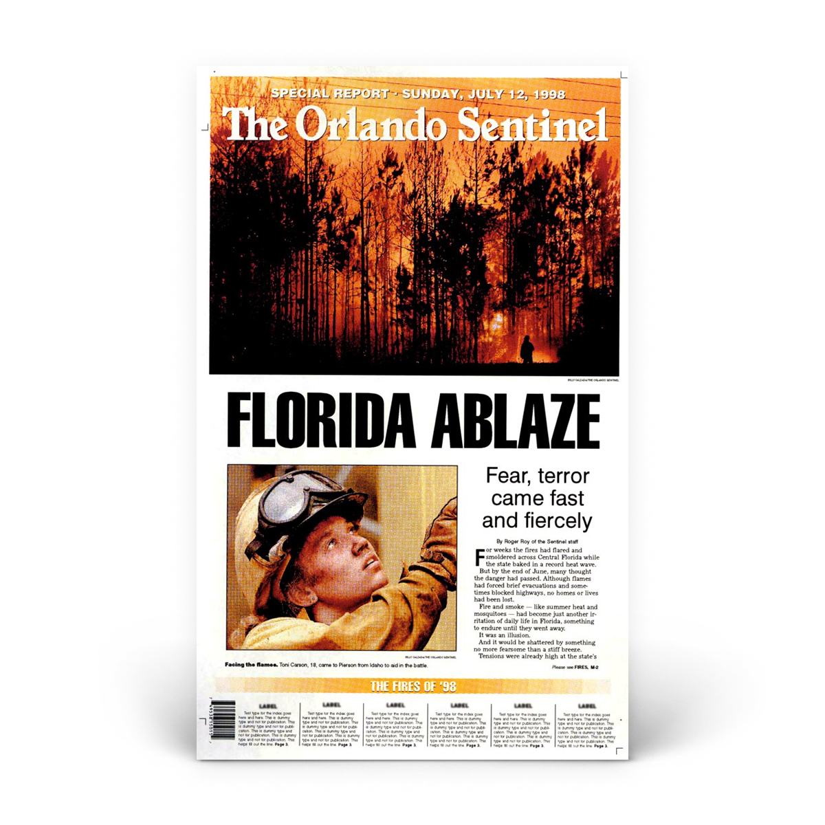 Commemorative Front Page: Fires of '98