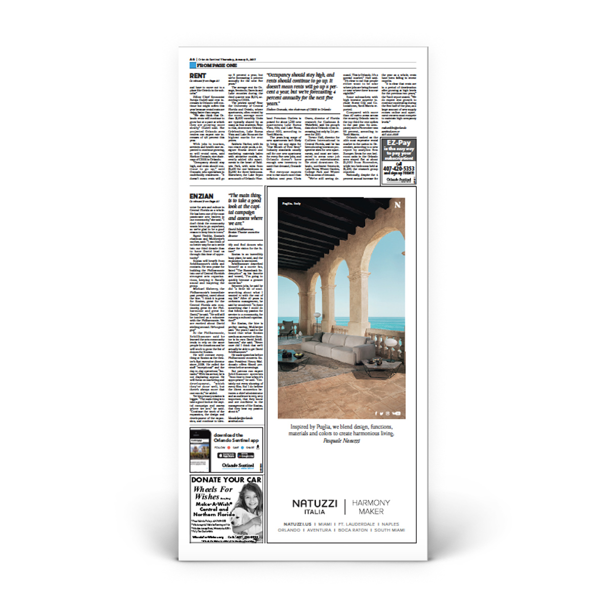 Orlando Sentinel 1/5/2017 Front Page Poster and Page A6 Poster