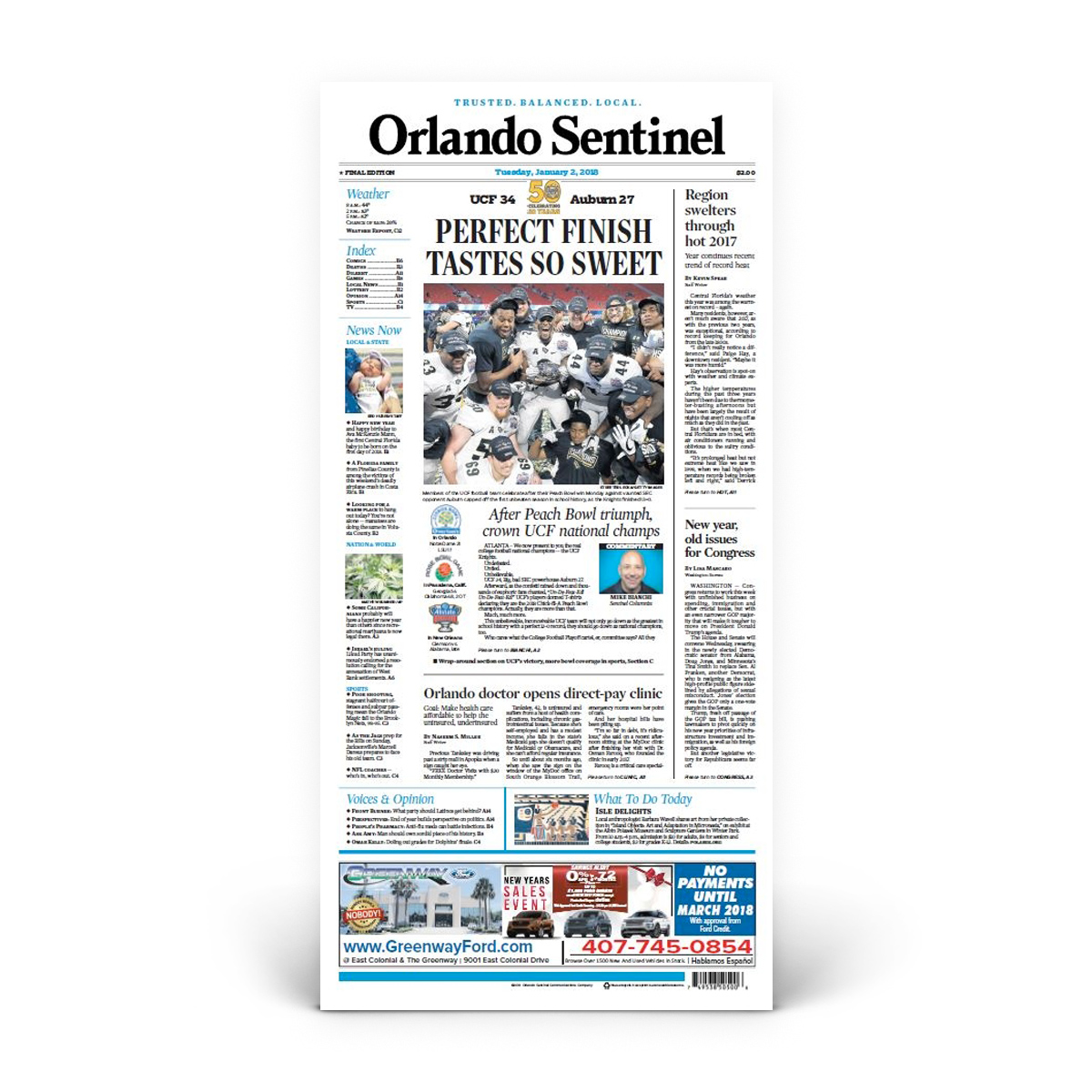 "Orlando Sentinel 1/3/2018 ""Perfect Finish Tastes So Sweet"" Front Page Print"