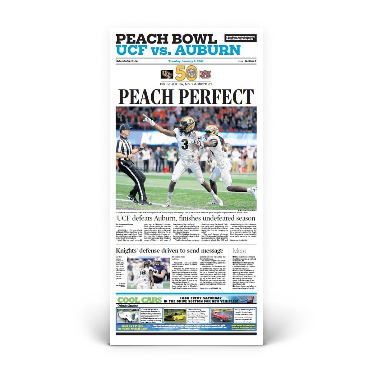 "Orlando Sentinel 1/2/2018 ""Peach Perfect"" Sports Front Page Print"