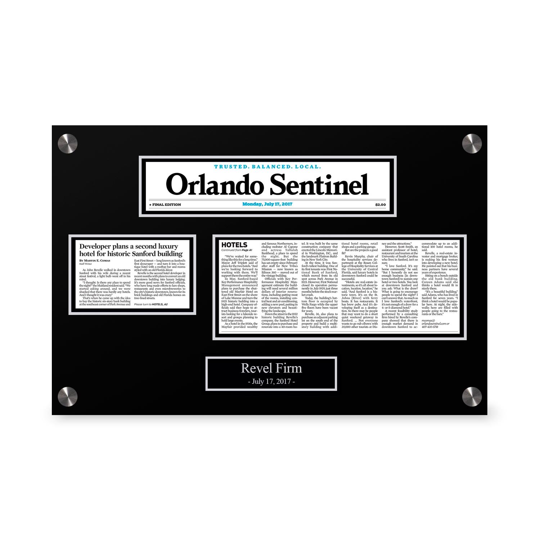 Orlando Sentinel Custom Article Print Plaques
