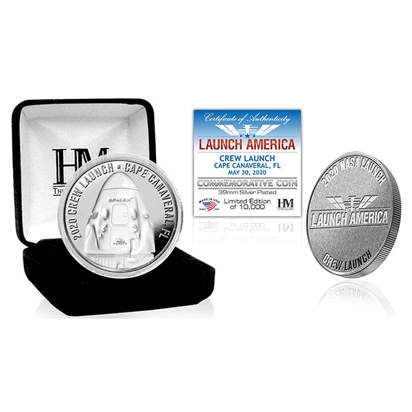 Launch America Crew Launch Silver Plated Coin