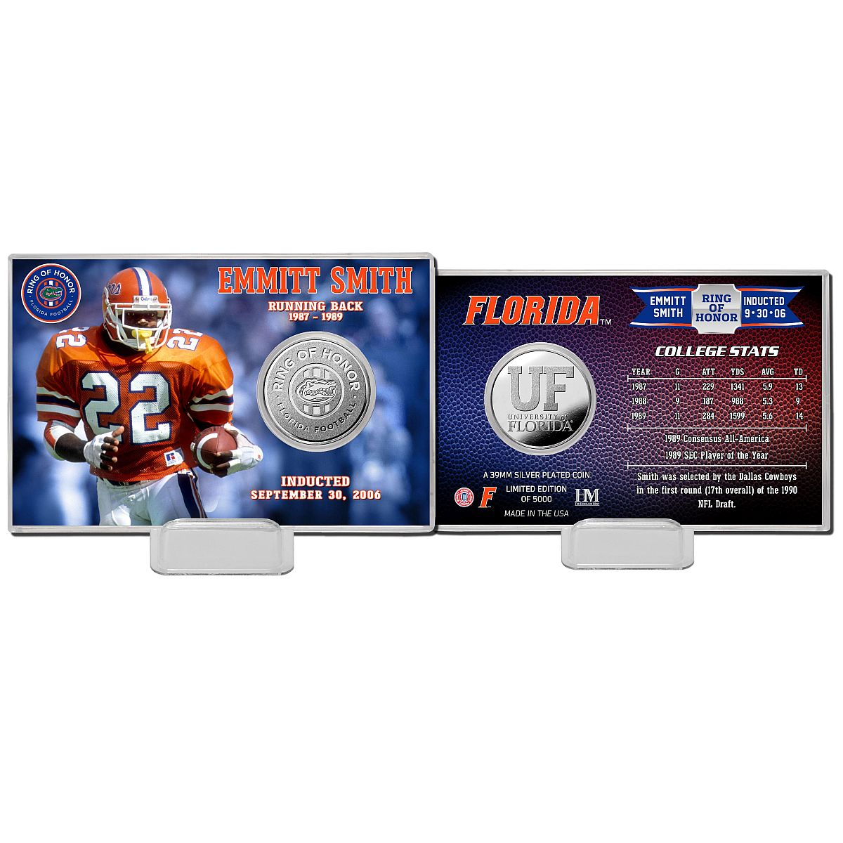 Emmitt Smith Florida Gators 2020 Ring of Honor Silver Coin Card