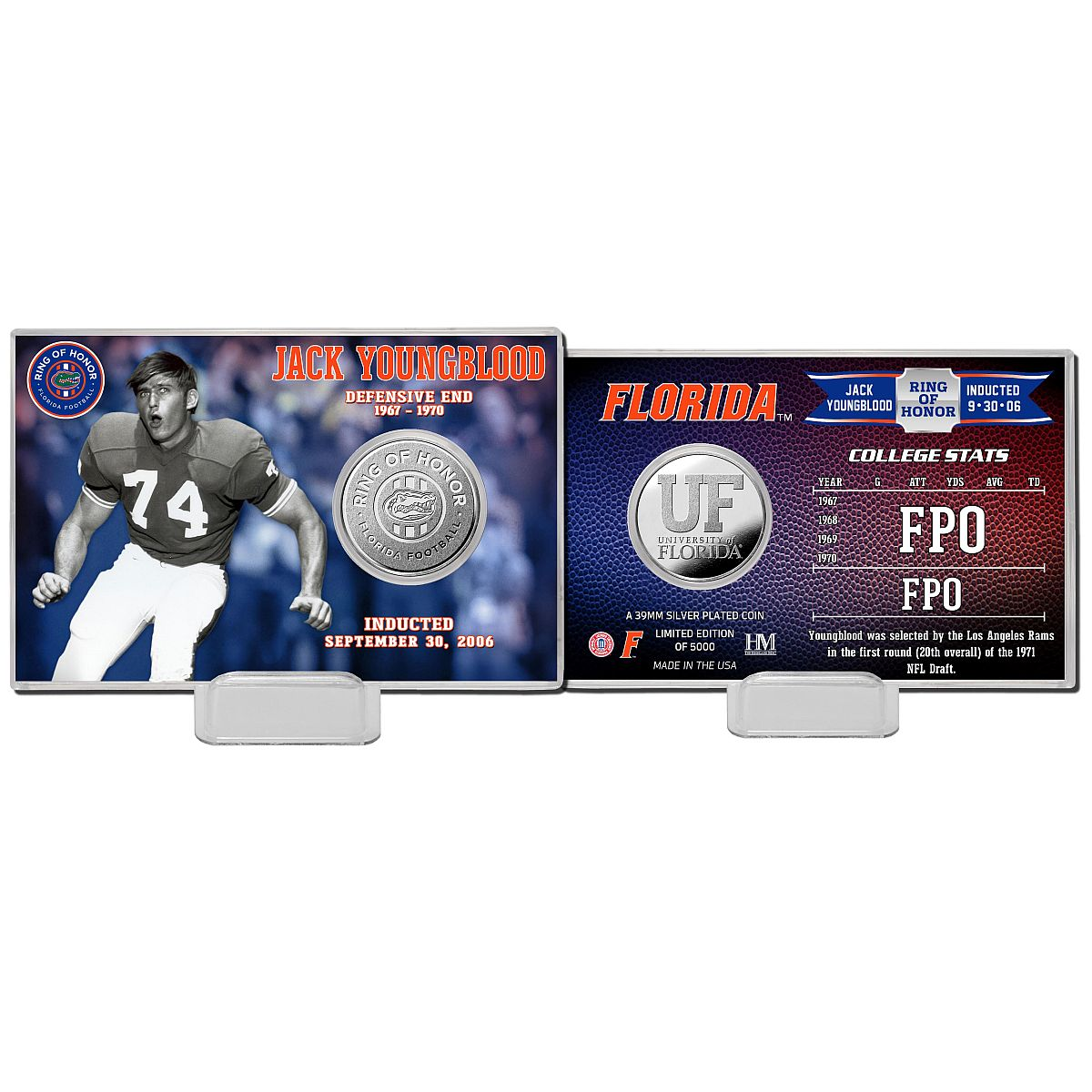 Jack Youngblood Ring of Honor Coin Card